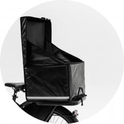 Bezorgbox, soft 50L, open achter op de fiets gemonteerd